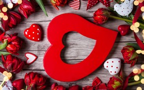 Picture love, flowers, gift, hearts, tulips, red, love, wood, flowers, romantic, hearts, tulips, Valentine's Day, gift, …
