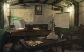Wallpaper map, cabinet in bunker, lamp, table, Underground cabinet, portrait