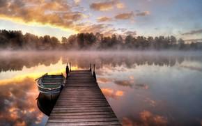Picture Lake, Morning, Reflection, Fog, Sunrise, Boat, Bridge