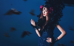 Picture flowers, birds, style, background, model, feathers, dress, Asian