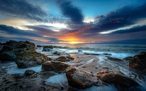 Wallpaper sunset, stones, rocks, sea