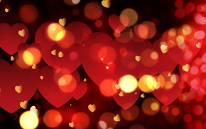 Wallpaper hearts, red, love, background, romantic, hearts, bokeh, Valentine's Day