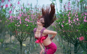 Wallpaper girl, style, hair, dance, figure, East