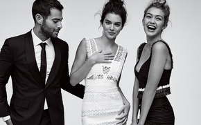 Picture smile, girls, black and white, guy, model, Kendall Jenner, Gigi Hadid
