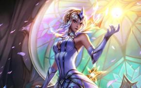 Picture light, girl, fantasy, game, magic, crown, Lux, League of Legends, digital art, petals, artwork, fantasy ...
