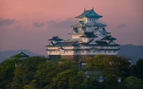 Picture the sky, clouds, trees, the evening, Japan, Palace