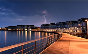Picture the storm, lights, the evening, Netherlands, Holland, Houten, Houten