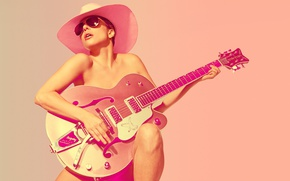 Wallpaper the sun, background, photoshop, guitar, hat, makeup, glasses, singer, Lady Gaga, Lady GaGa, SNL, Mary ...