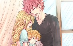 Picture love, anime, family, art, pair, fairy tail, Fairy Tail, Lucy, Natsu Dragneel