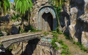 Picture mountains, bridge, palm trees, entrance, Time-Honoured Entrance
