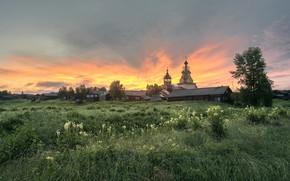 Picture summer, morning, village, Church, Arkhangelsk oblast, Kimzha