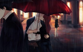 Picture night, rain, romance, umbrella, two, passers-by