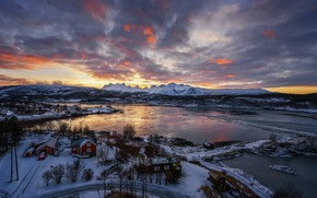 Wallpaper the view from the top, snow, mountains, winter, home, trees, Bay, the evening, Norway, Bude, ...