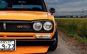 Picture Auto, Machine, Grille, Orange, Nissan, Nissan, Lights, Car, 2000, Skyline, Nissan Skyline, 1972, The front, …