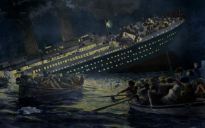 Picture Titanic, death, lifeboats, Sinking