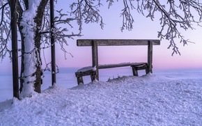 Picture winter, snow, sunset, bench