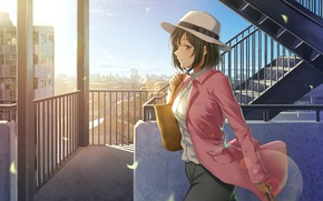 Picture girl, anime, art, hat