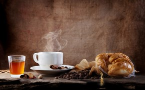 Picture coffee, cinnamon, coffee beans, croissant