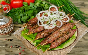 Picture greens, bow, meat, tomatoes, kebab
