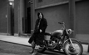 Picture road, house, street, motorcycle, black and white, bike, the sidewalk, coat, photoshoot, Vogue, Norman Reedus, ...
