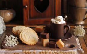 Picture coffee, cookies, Cup, sweets, cream