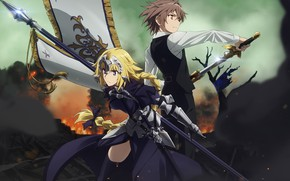 Picture girl, weapons, anime, art, guy, two, Fate Apocrypha, FateApocrypha