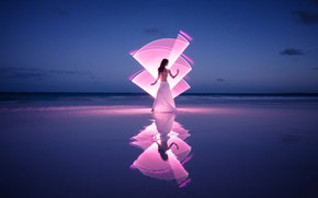 Picture wave, girl, light, shore, Light-painting at the pink sand beach