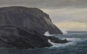 Picture sea, landscape, rocks, picture, Rockwell Kent, Rockwell Kent, Blacked. Monegan