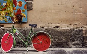 Picture wheels, vintage, bike, retro, old, street, classic, painting, fruits, Bicycle, watermelon, brick, concrete, wail