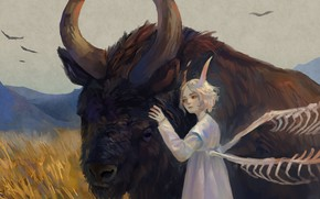 Picture girl, nature, the demon, fantasy, bull