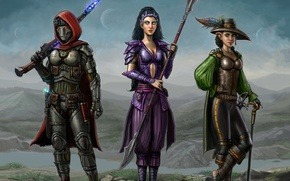 Picture girl, fiction, elf, sword, hat, cane, helmet, spear, hunters
