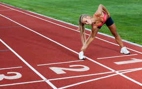Picture blonde, female, Athletics, running, elongation, jogging, physical activity outdoor