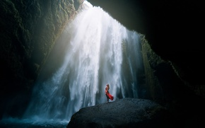 Picture water, girl, rock, the power of the spirit, mood, red, stone, waterfall, the situation, stream, …