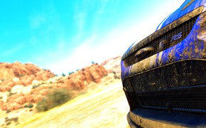 Picture car, game, ford, the crew, focus rs, deserto, azul, dirt, lama