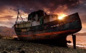 Picture landscape, sunset, ship