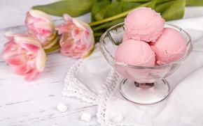 Picture balls, ice cream, tulips