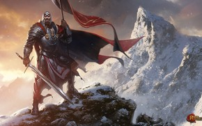 Wallpaper mountains, weapons, flag, warrior, Rise of the Overlords