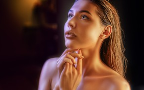 Picture look, girl, face, portrait, hands, makeup, Alexander Drobkov-Light, Natalia Chernukha