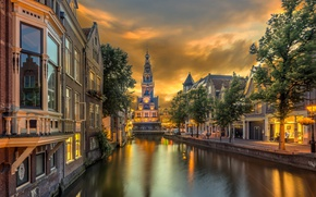 Picture tower, home, channel, Netherlands, Alkmaar