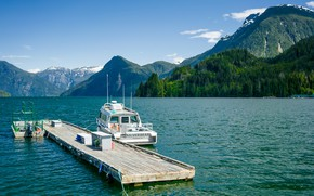 Picture forest, mountains, lake, pier, Canada, boat, Canada, British, mountains, lake, motorboat, Marinas