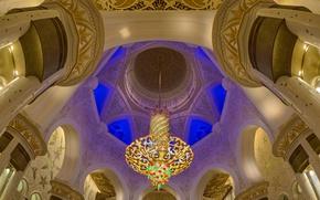 Wallpaper Abu Dhabi, the Sheikh Zayed Grand mosque, hall, UAE, chandelier