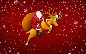 Picture Winter, Minimalism, Snow, New Year, Christmas, Deer, Snowflakes, Background, Santa, Holiday, Elf, Santa Claus, Santa …