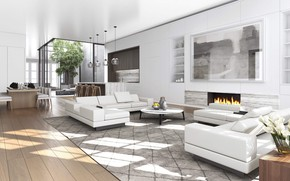 Picture interior, luxury, living space, villf