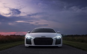 Wallpaper the sky, light, Audi, lights, the evening, morning, Audi R8