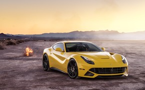 Picture landscape, desert, yellow, The Ferrari F12