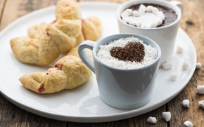 Picture heart, hot chocolate, bagels