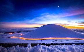 Wallpaper light, snow, winter, road, excerpt, the moon, night, the sky