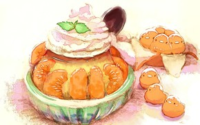 Picture figure, cake, tangerines