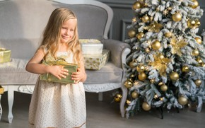 Picture holiday, toys, tree, new year, girl, gifts
