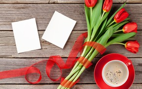 Picture love, flowers, coffee, bouquet, Cup, hearts, tulips, red, love, wood, flowers, cup, romantic, hearts, tulips, …